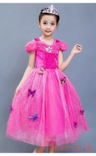 Fuchsia Tulle,Lace Princess Off The Shoulder Short Sleeve Tea-length Children's Prom Dresses(FGD244)