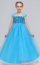 Turquoise Satin,Tulle Princess Square Short Sleeve Floor-length Children's Prom Dresses(FGD246)