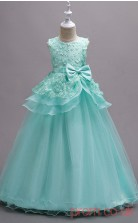 Powder Blue Lace,Organza Ball Gown Jewel Floor-length Children's Prom Dresses(FGD247)