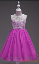 Medium Orchid Lace,Chiffon A-line Jewel Knee-length Children's Prom Dresses(FGD250)