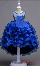 Blue Organza Ball Gown Jewel Floor-length Children's Prom Dresses(FGD257)