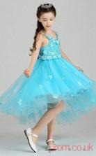 Blue Lace,Tulle A-line V-neck Knee-length Children's Prom Dresses(FGD264)