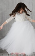 Ivory Lace Tulle Jewel Half Sleeve Ankle-length Princess Children's Prom Dress (FGD303)