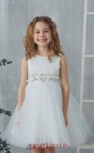 White Tulle Jewel Sleeveless Mini Princess Children's Prom Dress (FGD304)