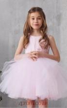 Blushing Pink Tulle Jewel Sleeveless Mini Princess Children's Prom Dress (FGD323)