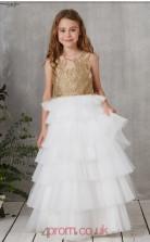 White Tulle Illusion Sleeveless Floor-length Princess Children's Prom Dress (FGD324)