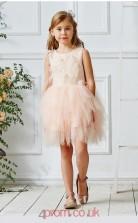 Pearl Pink Tulle Jewel Sleeveless Mini Princess Children's Prom Dress (FGD327)