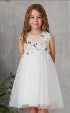 Ivory Tulle Jewel Sleeveless Mini Princess Children's Prom Dress (FGD328)