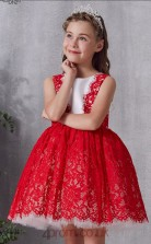 Red Lace Satin Jewel Sleeveless Mini Ball Gown Children's Prom Dress (FGD331)