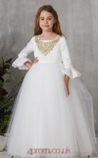 Ivory Taffeta Tulle Square 3/4 Length Sleeve Floor-length Princess Children's Prom Dress (FGD332)