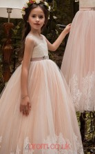Pink Lace Tulle V-neck A-line Floor-length Kids Prom Dresses(FGD341)