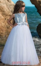 Sky Blue Sequined Tulle Bateau A-line Floor-length Kids Prom Dresses(FGD345)