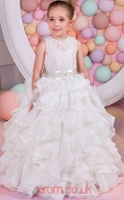 Ivory Lace Organza Jewel Princess Floor-length Kids Prom Dresses(FGD351)