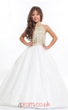 White Organza Halter Ball Gown Floor-length Kids Prom Dresses(FGD353)