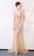 Evening Illusion Crystal V-neck Clubwear Dress Car Show Models BX-G562