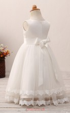 White Princess Jewel Tea Length Kid's Prom Dresses(HT20)