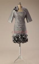 Silver Taffeta Sheath/Column Strapless Half Sleeve Two Piece Prom Dresses(JT4-JMD121)