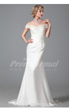 Mermaid Off The Shoulder Short Sleeve Sweep Train White 100D Chiffon Bridal Evening Gown (PRJT04-1817)
