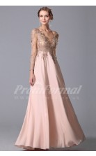 A-line V-neck 3/4 Length Sleeve Long Pearl Pink Satin Chiffon Prom Dresses(PRJT04-1845)