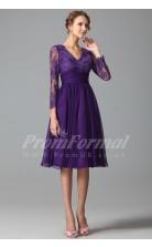 A-line V-neck 3/4 Length Sleeve Knee-length Regency Lace , Chiffon Prom Dresses(PRJT04-1847)