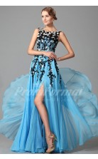 A-line Bateau Long Power Blue 100D Chiffon Prom Dresses(PRJT04-1854)
