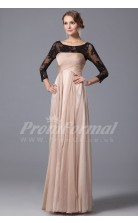 A-line Scoop 3/4 Length Sleeve Long Pearl Pink Lace , Chiffon Prom Dresses(PRJT04-1857)