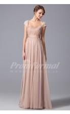 A-line Square Short Sleeve Long Nude Pink 100D Chiffon Prom Dresses(PRJT04-1861)