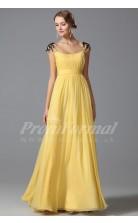 A-line Square Short Sleeve Long Yellow 100D Chiffon Prom Dresses(PRJT04-1862)