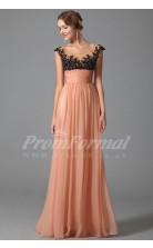 A-line Scoop Short Sleeve Long Light Coral 100D Chiffon Prom Dresses(PRJT04-1864)