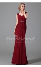 Mermaid V-neck Short Sleeve Long Burgundy 100D Chiffon Prom Dresses(PRJT04-1866)