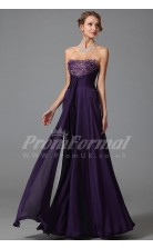 A-line Strapless Long Pink 100D Chiffon Prom Dresses(PRJT04-1867)