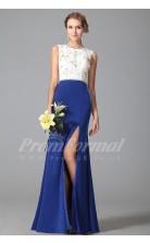 Mermaid Jewel Long Medium Blue Satin Chiffon , Lace Prom Dresses(PRJT04-1871)