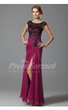 Mermaid Scoop Short Sleeve Long Fuchsia Lace , Chiffon Prom Dresses(PRJT04-1873)