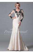 Mermaid V-neck 3/4 Length Sleeve Long Ivory Satin Prom Dresses(PRJT04-1875)