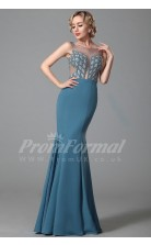 Mermaid Illusion Long Power Blue Satin Chiffon Prom Dresses(PRJT04-1878)