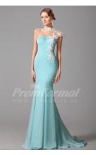 Mermaid Illusion Short Sleeve Long Light Blue 100D Chiffon Prom Dresses(PRJT04-1882)