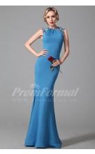 Mermaid Jewel Long Ocean Blue Tencel Prom Dresses(PRJT04-1883)