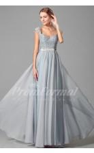A-line V-neck Short Sleeve Long Sky Blue 100D Chiffon Prom Dresses(PRJT04-1885)