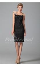 Sheath Bateau Short Sleeve Knee-length Black Lace Prom Dresses(PRJT04-1887)