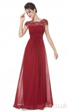 A-line Scalloped Ankle-length Linght Burgundy Chiffon Prom Dresses with Short Sleeves (PRJT04-1899-B)