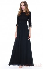 A-line Scoop Neckline Half Sleeve Long Black Chiffon , Lace Prom Dresses with Half Sleeves (PRJT04-1907-D)