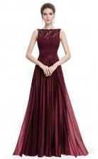 A-line Bateau Neckline Long Dark Burgundy Chiffon , Lace Prom Dresses(PRJT04-1912-A)