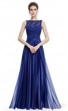A-line Scalloped Long Medium Blue Chiffon , Lace Prom Dresses(PRJT04-1912-D)