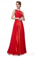 A-line Scalloped Long Ruby Chiffon , Lace Prom Dresses(PRJT04-1912-F)