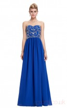 A-line Strapless Long Light Royal Blue Chiffon Prom Dresses(PRJT04-1917-C)
