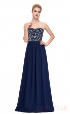 A-line Sweetheart Neckline Long Royal Blue Chiffon Prom Dresses(PRJT04-1917-D)