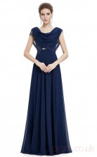 A-line Cowl Long Light Navy Silk Like Chiffon , Sequined Prom Dresses with Short Sleeves (PRJT04-1919-B)