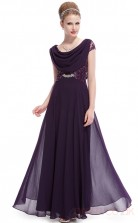 A-line Cowl Long Purple Chiffon , Sequined Prom Dresses with Short Sleeves (PRJT04-1919-D)