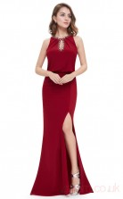 Mermaid Jewel Long Burgundy Satin Chiffon Prom Dresses(PRJT04-1925-A)