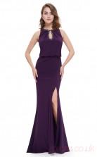 Mermaid Jewel Long Regency Satin Chiffon Prom Dresses(PRJT04-1925-B)